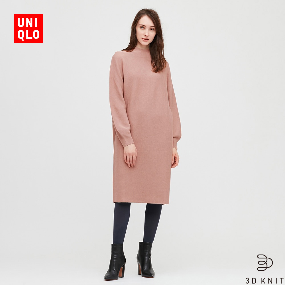 Uniqlo women's 3D cotton lantern sleeve dress (long sleeve) 429449 UNIQLO