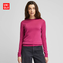 Women's Worsted Merino round neck T-shirt (long sleeve) 418668 UNIQLO