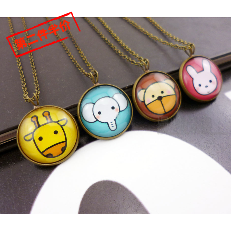 Original handmade cute animal Necklace Japanese and Korean style girl time gem cartoon sweater chain animation peripheral