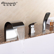 Home Ming House Special copper hot and cold split sitting cylinder side bathtub faucet three-piece set bathtub side faucet