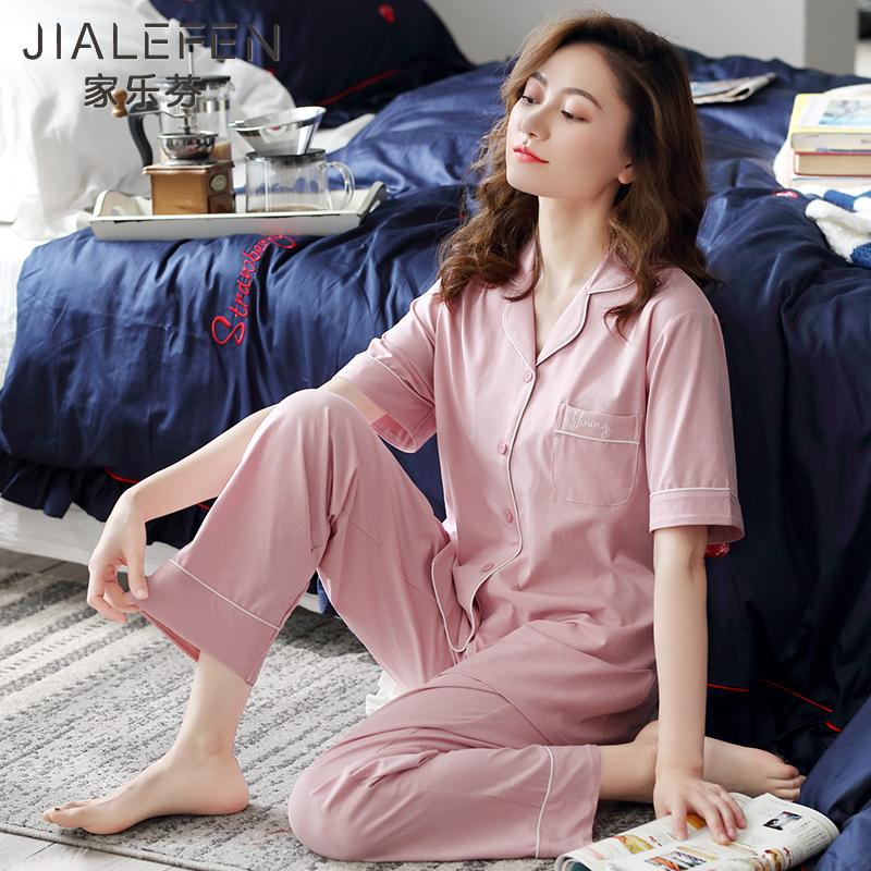 [莱卡棉]睡衣女士夏季纯棉短袖长裤家居服夏天薄款宽松加大码韩版图片