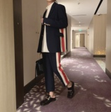 阿茶与阿古设计感撞色拼条西装男套装秋季韩版西服外套西裤两件套