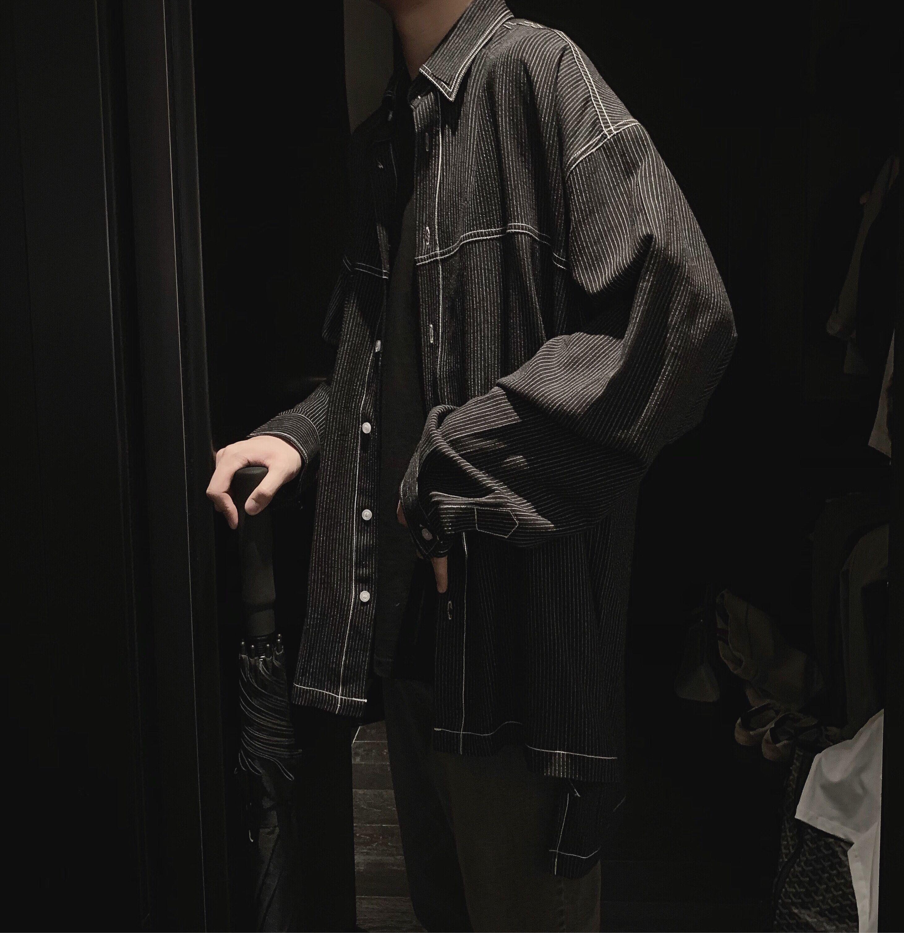 阿茶与阿古早秋四色条纹衬衫男长袖韩版宽松明线设计感衬衣外套券后174.00元