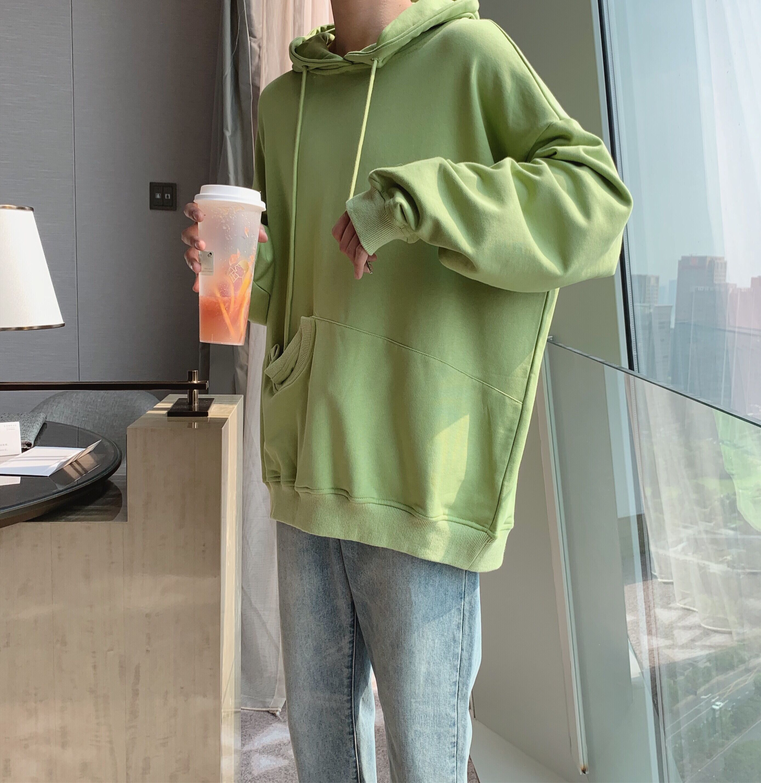 阿茶与阿古牛油果绿卫衣男连帽秋季韩版潮流设计感口袋情侣装上衣券后169.00元