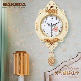 歐式鐘表創意搖擺掛鐘時尚掛表復古靜音大客廳時鐘臥室石英鐘家用