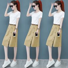 连衣裙女套装夏季2020新款时尚气质纯棉短袖T恤半身裙裤两件套潮
