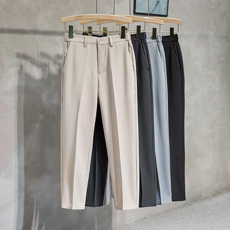 夏季薄款休闲西裤男士垂感时尚锥形裤子商务西装裤修身小脚九分裤