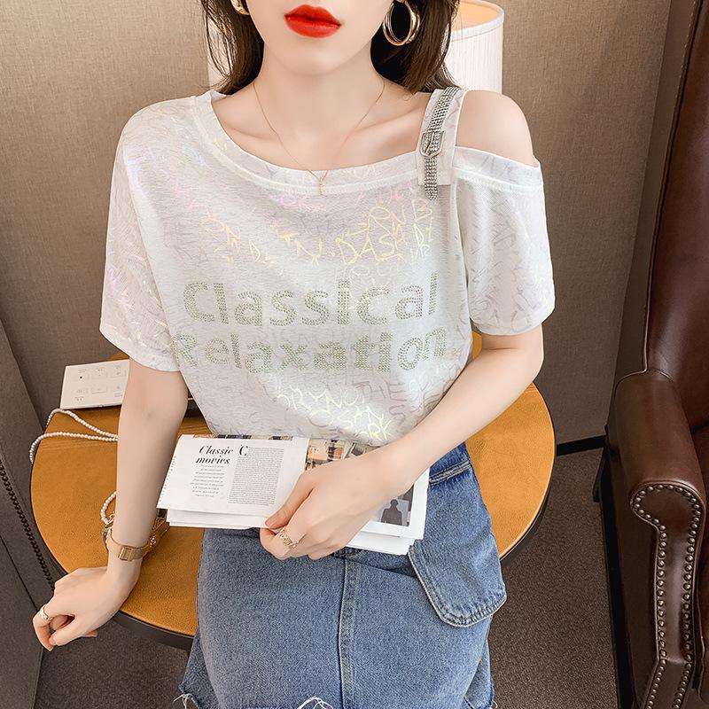 冰丝露肩性感短袖t恤女夏季2021新款设计感小心机上衣服