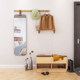北欧玄关衣帽架镜子贴墙全身镜一体带穿衣镜ins试衣镜实木挂衣杆