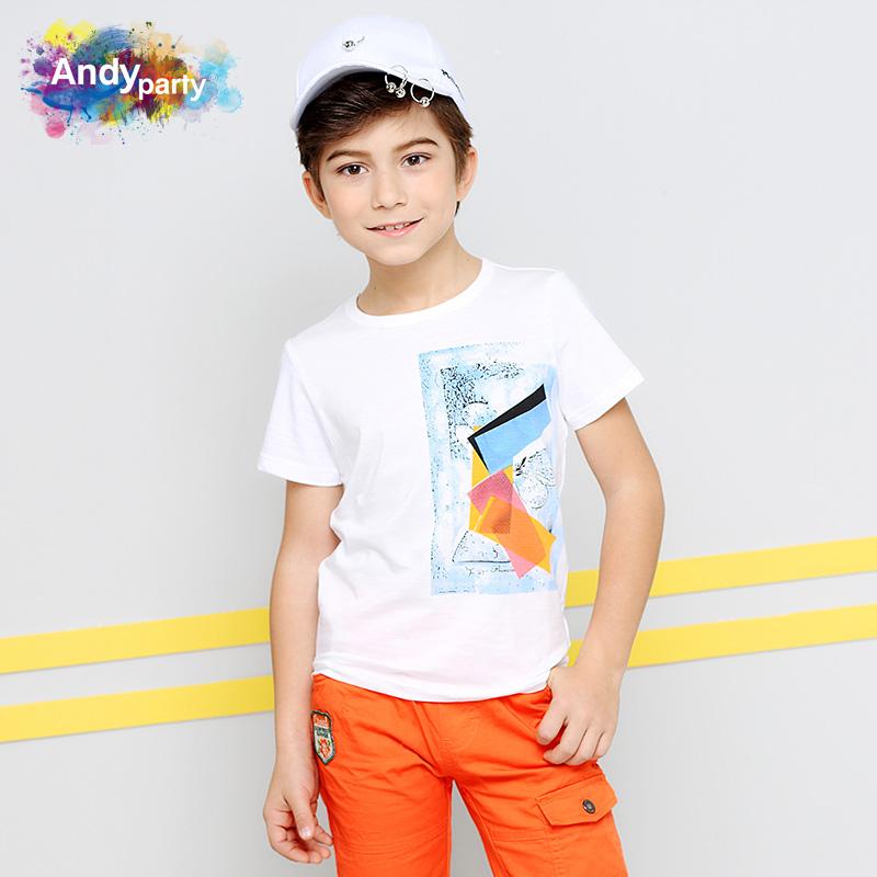 安迪派对2018夏装新款男童T恤短袖中大童印花体恤儿童圆领上衣