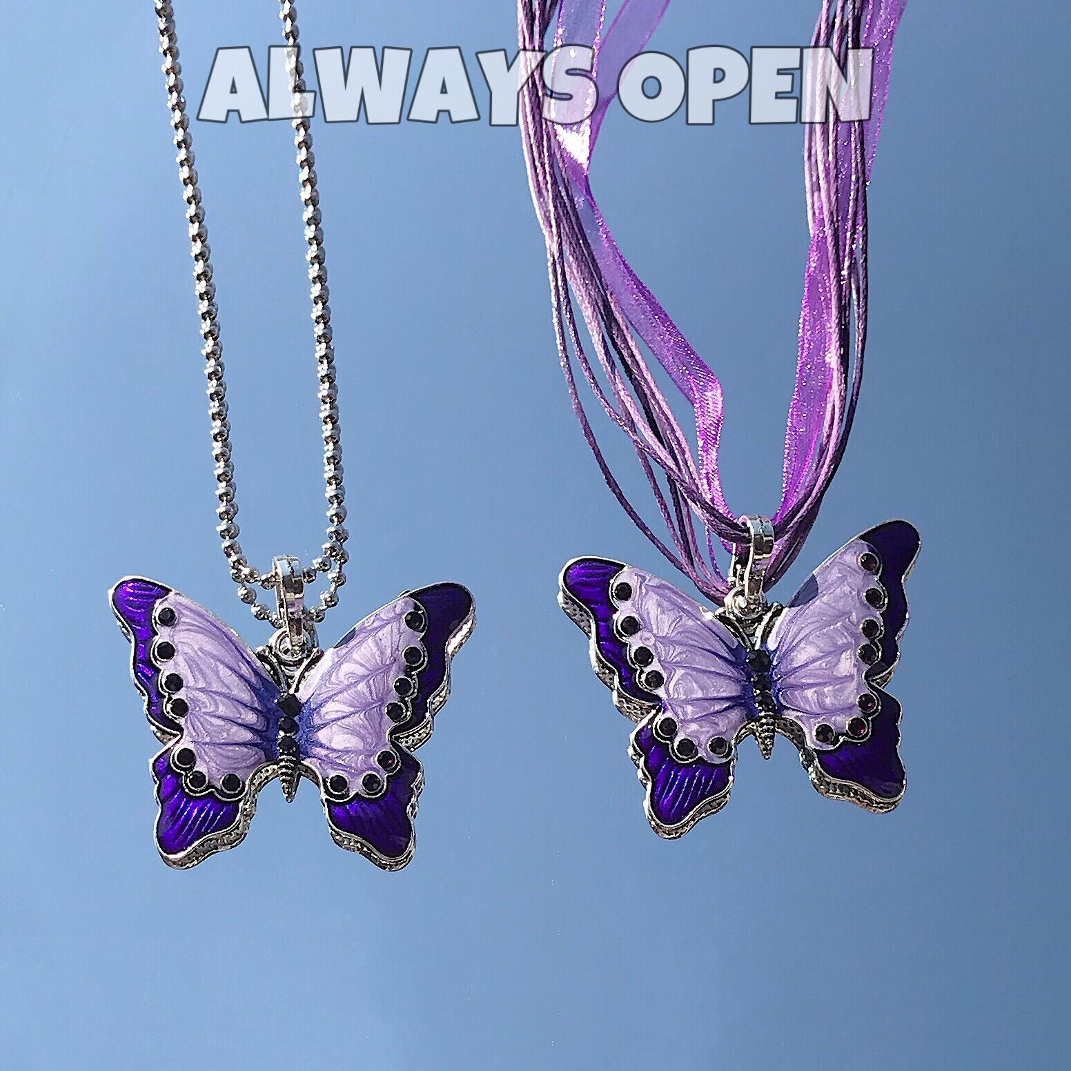 ALWAYS OPEN 手作超美复古点钻金粉紫蝴蝶美丁同款土酷少女项链