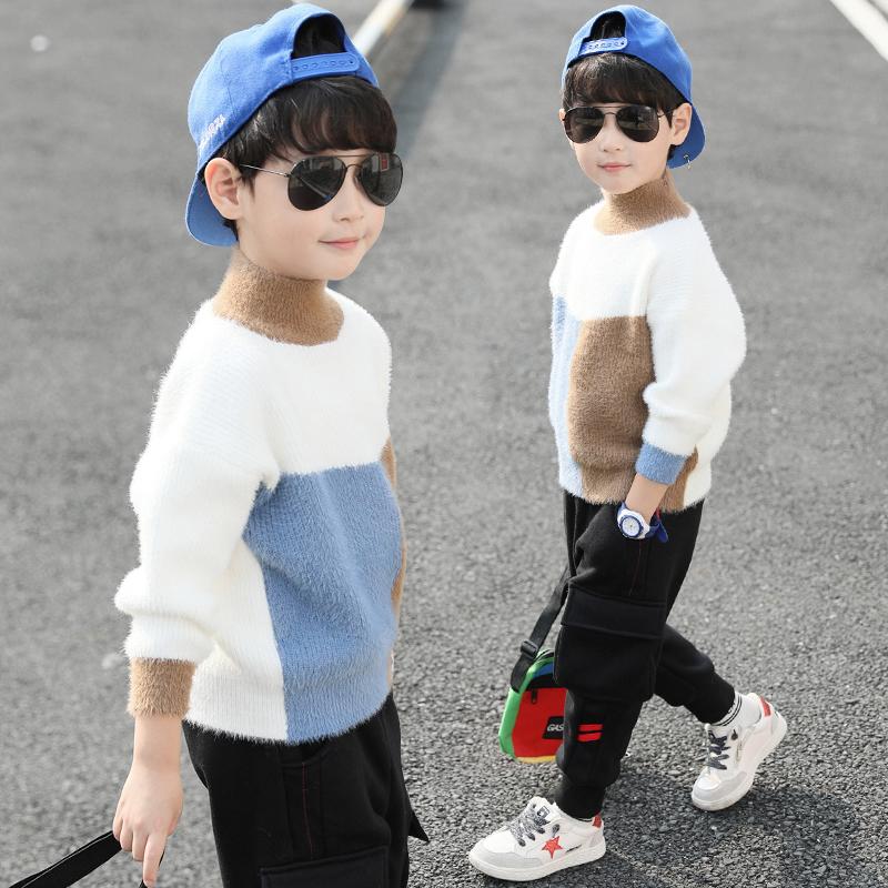 男童毛衣套头2020新款儿童高领水貂绒春秋装马海毛加绒加厚打底衫