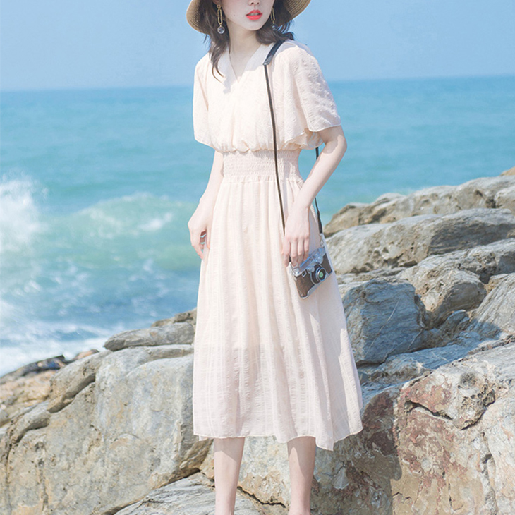 2019夏雪纺时尚显瘦收腰贵夫人矮个子超仙森系女神范小清新连衣裙(非品牌)