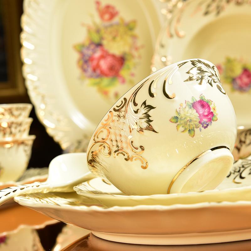 欧式套装家用高档宫廷金边陶瓷碗盘16.80元包邮