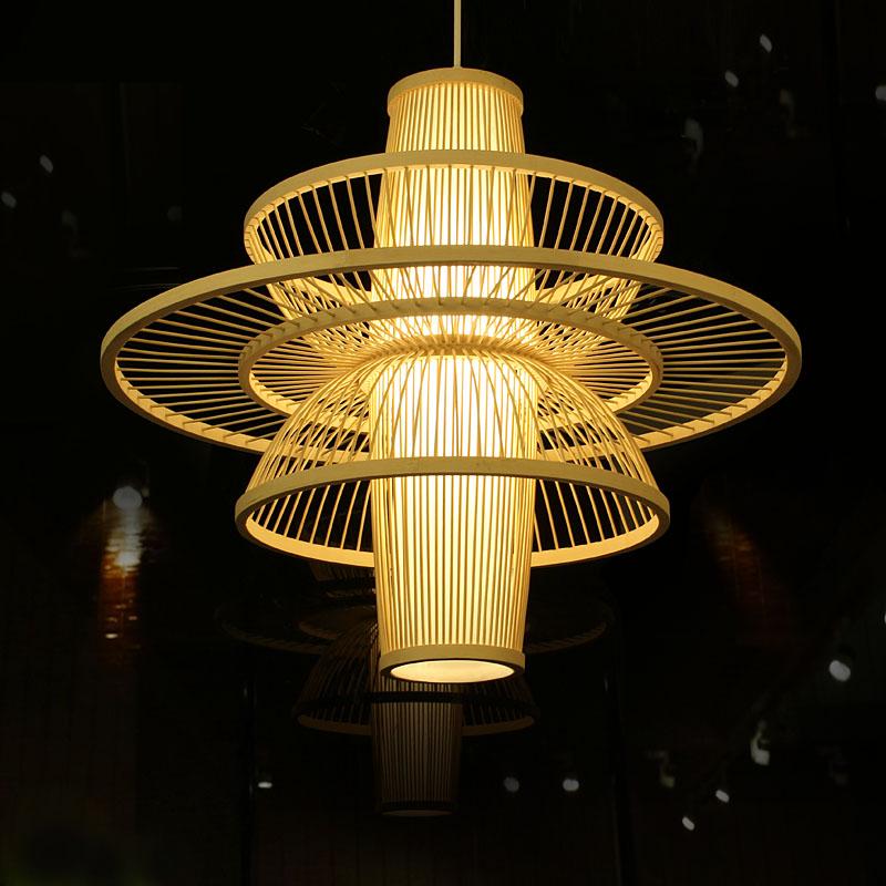 新中式客厅餐厅吊灯日式禅意茶室卧室酒店包厢别墅东南亚艺术灯具-竹木传说旗舰店