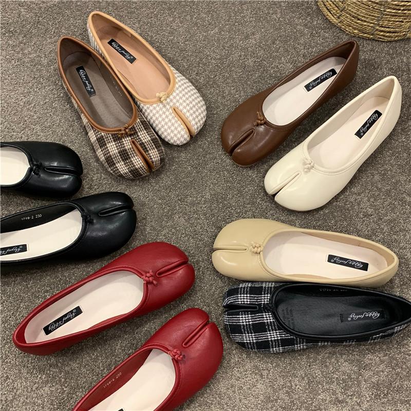 豆豆鞋女鞋2021年新款夏季分趾猪蹄鞋脚趾懒人马蹄鞋平底单鞋秋鞋