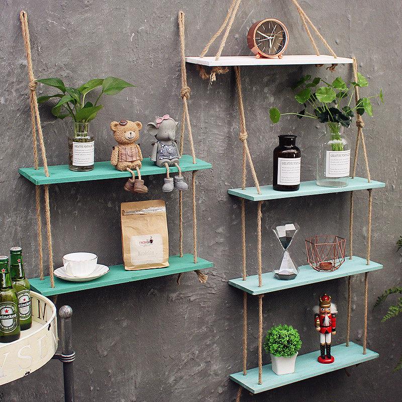 创意ins墙上置物架麻绳搁板免打孔壁挂房间墙面收纳架墙壁装饰品