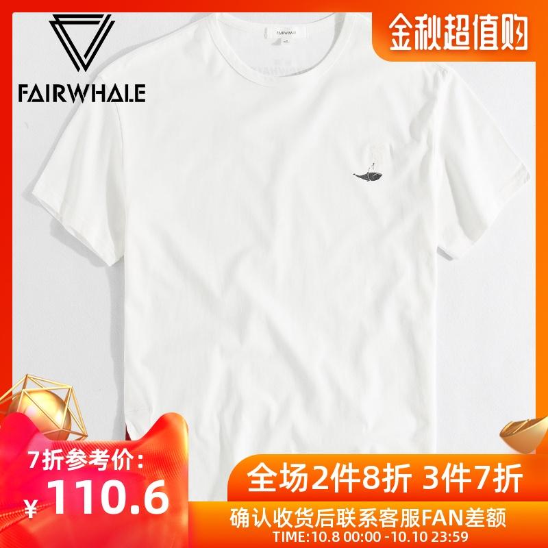 热销2件有赠品马克华菲男士短袖T恤夏季宽松刺绣白色体恤潮流潮牌ins男生半袖衫