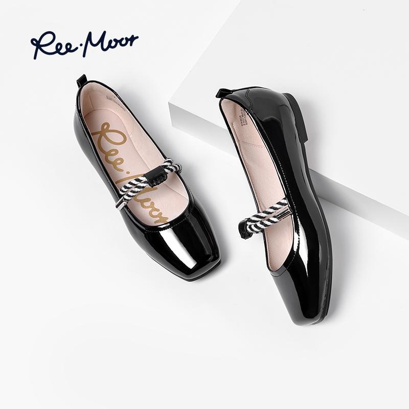 REEMOOR玛丽珍鞋女复古鞋子新款秋季平底奶奶鞋漆皮单鞋睿慕女鞋