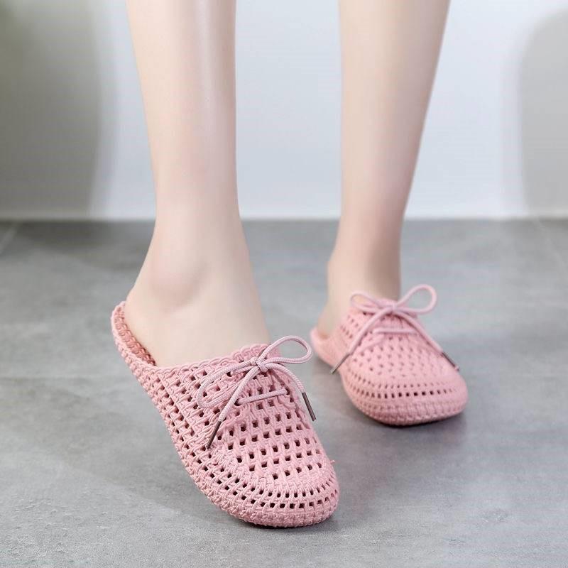 。夏季凉拖鞋女包头系带平底镂空洞洞鞋外穿浴室防滑室内透气凉拖