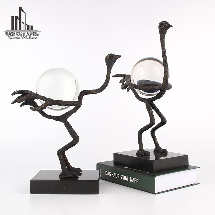 美式复古铸铁动物水晶器摆件现代办公室创意镂空小鸟雕塑造型装饰