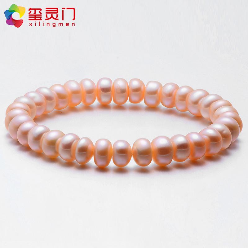 淡水珍珠手链女士白色粉色紫色手饰送妈妈礼物9mm8强光饱满扁圆