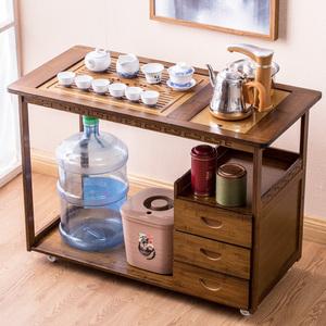 移动茶车茶台家用小茶桌简约楠竹实木茶盘茶具套装自动烧水泡茶桌