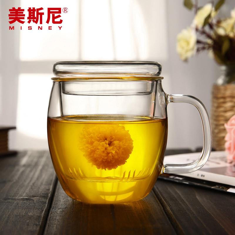 美斯尼 玻璃茶杯 加厚透明帶蓋過濾大泡茶杯 男女可愛圓形花茶杯