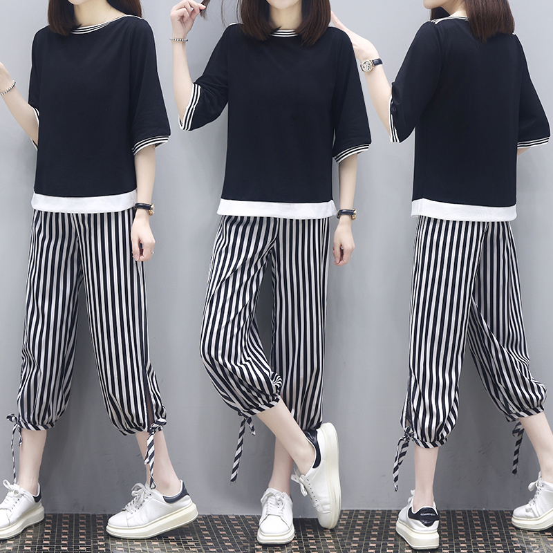 Summer dress fashion large womens loose casual 2020 new fat thin striped pants two piece set