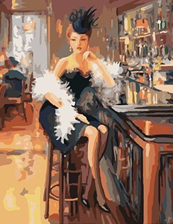 DIY digital oil painting abstract figure American oil painting fashionable woman sitting on the bar bar gx8076