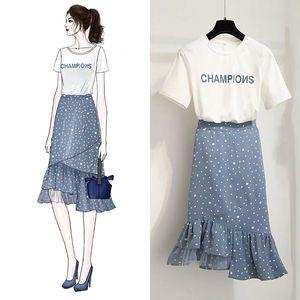 波点连衣裙夏季2019时尚法式高腰不规则鱼尾裙套装两件套女潮6