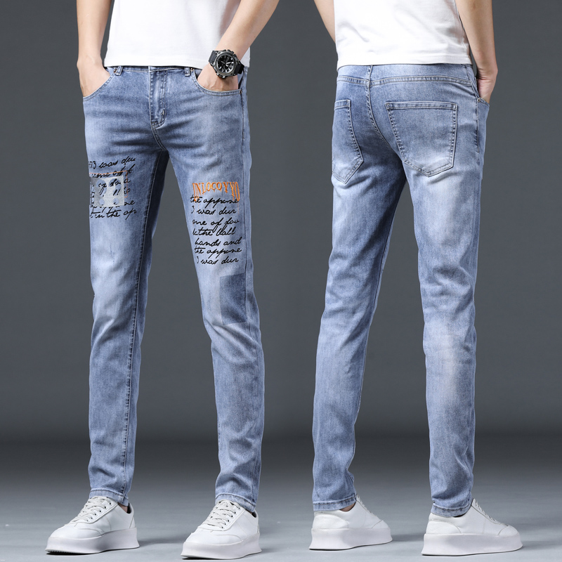 European station pants trend autumn and winter mens printed jeans mens pants slim fit small foot casual pants embroidered jeans trend