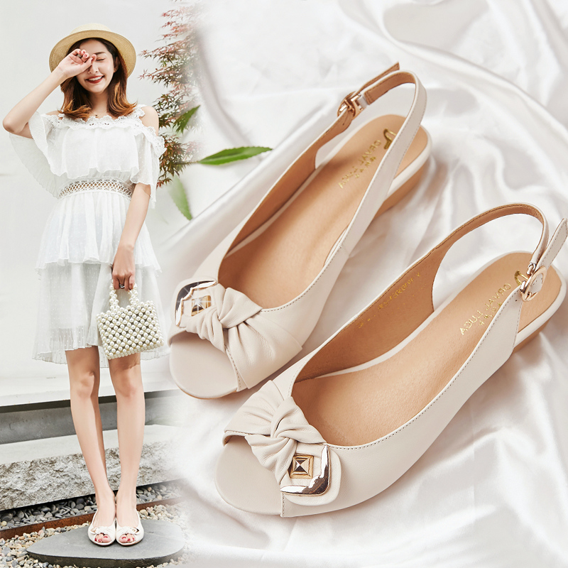 Summer 2020 new versatile mother fish mouth sandals womens comfortable large flat bottom soft sole slope heel womens shoes