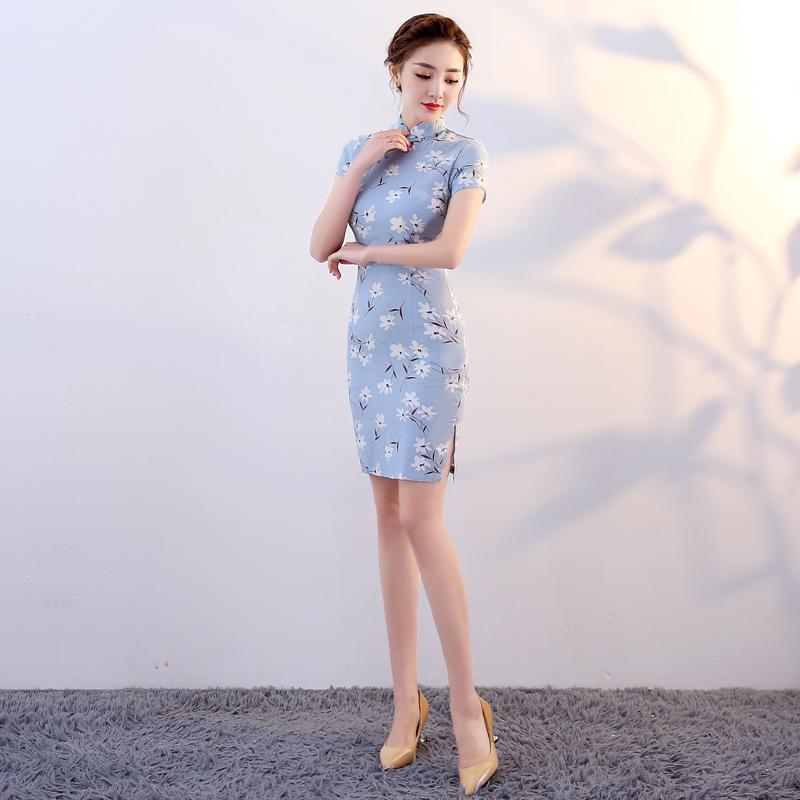 棉麻少女装旗袍新款2018夏季女现代春秋改良连衣裙显瘦年轻亚麻棉