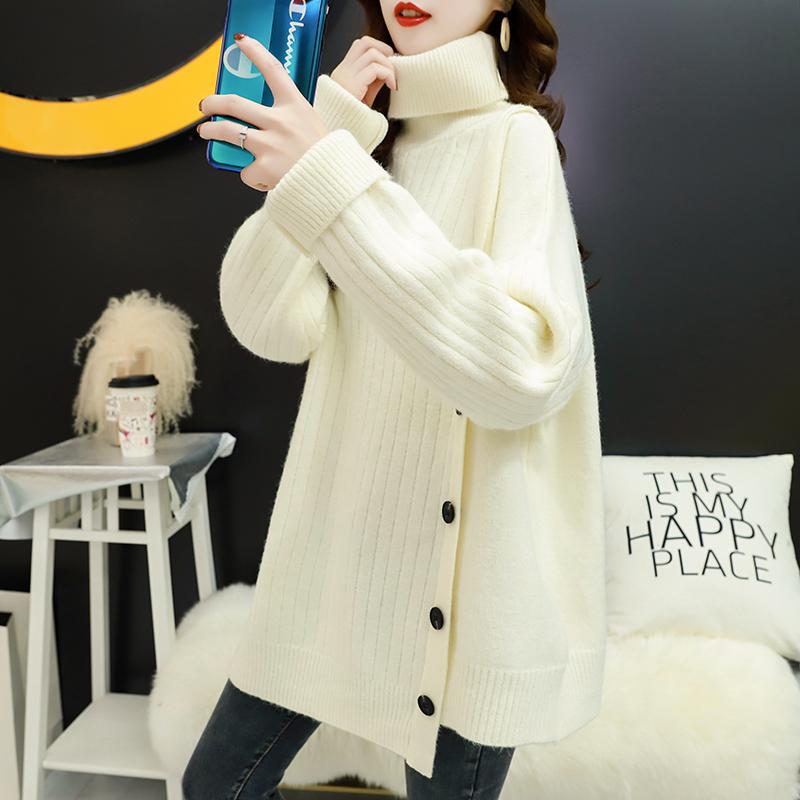 中长款毛衣女宽松外穿慵懒风套头高领韩版加厚秋冬新款针织上衣潮