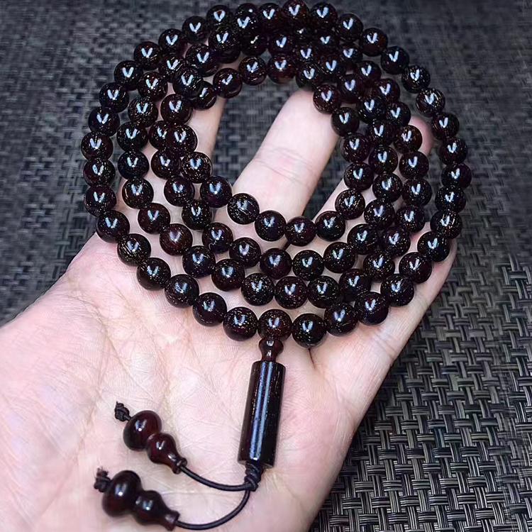 印度老料满金星小叶紫檀黑珍珠108颗手串男士8mm佛珠手串6mm手链