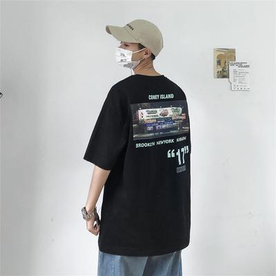 2019夏 宽松 全棉 前后印花 短袖T恤 T2216/P35(不低于48)