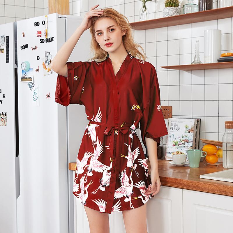满199.00元可用150元优惠券日式浴袍女长款薄款冰丝性感和风晨袍伴新娘结婚礼红色睡衣可外穿
