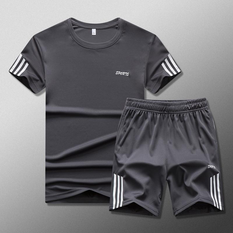短裤短袖运动套装男夏季宽松舒适速干T恤跑步休闲运动服两件套潮