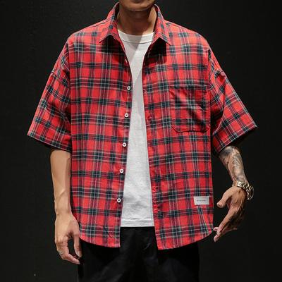 2019 夏季新款 日系马切达大码格子五分袖短袖衬衫M-5X HC190-P40