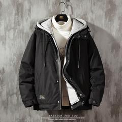 2019 冬季新款 日系水泥墙大码假两件棉衣M-5X HM19205-P150