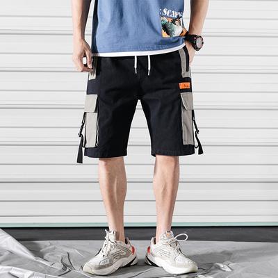 2019 夏季新款 大码日系卷帘门撞色立体袋工装短裤M-5X HK154-P45