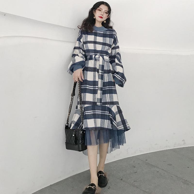 秋冬女装新款时尚宽松毛呢拼接网纱复古格子鱼尾裙中长款连衣裙潮