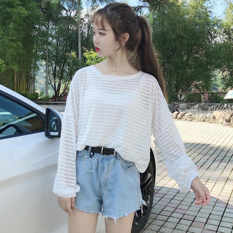 夏季女装新款学院风清新纯色条纹宽松长袖T恤百搭薄款防晒衫上衣