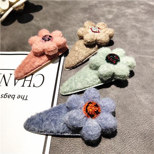 韩国莫兰迪色系亲子发饰毛毡花朵发夹满钻笑脸bb夹刘海夹儿童边夹