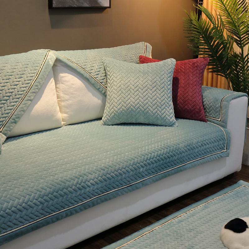 欧式皮毛绒沙发垫冬季家用布艺通用型简约现代防滑全包万能套巾罩