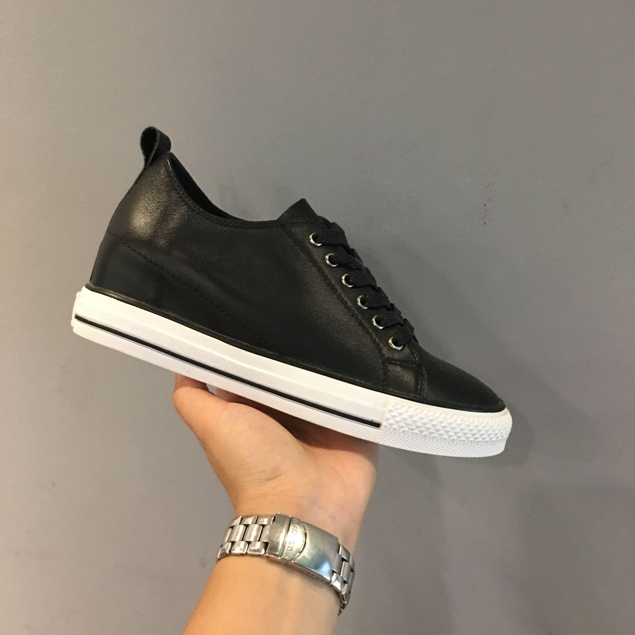 01-5 处理不退换 IG女鞋圆头系带内增高坡跟板鞋休闲鞋单鞋小白鞋