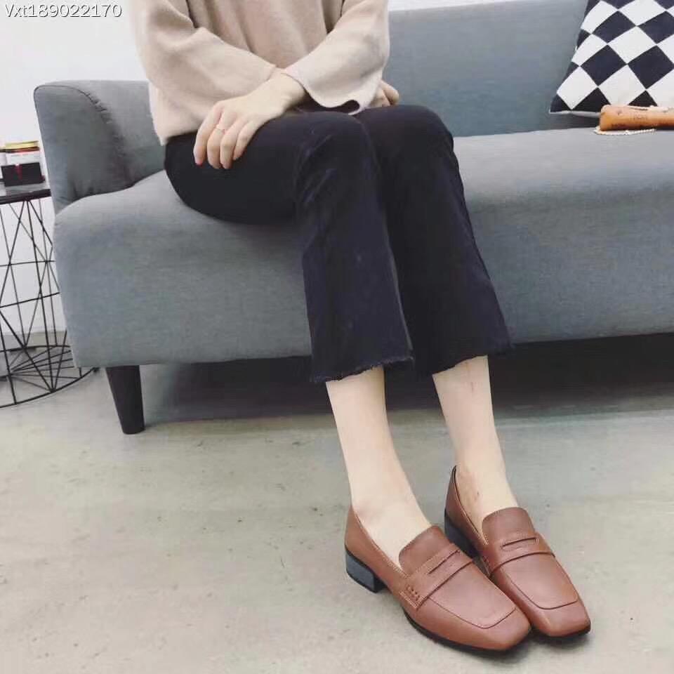 820-9尾货处理不退换 IG方头低跟粗跟一脚蹬软面休闲鞋真皮女单鞋