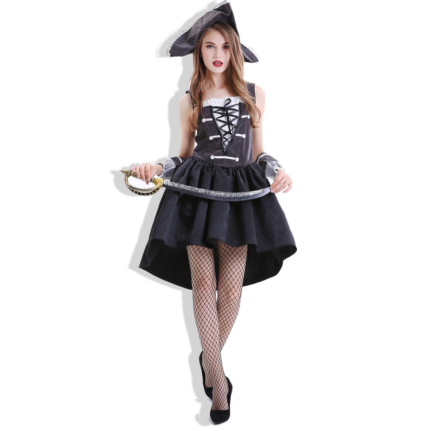 新しいハロウィンの海賊のスカートの服装の海賊の女性の船長の航海家の役はコスプレの水夫を演じます