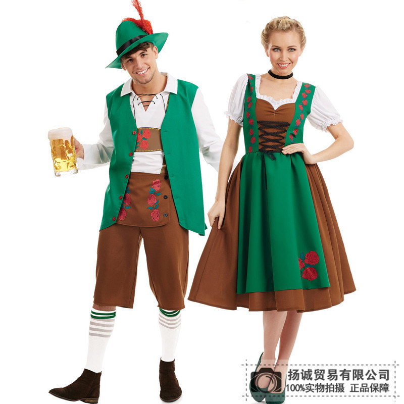 Couples classic Halloween Costume German Beer Festival work clothes beer clothes bar men and womens clothes